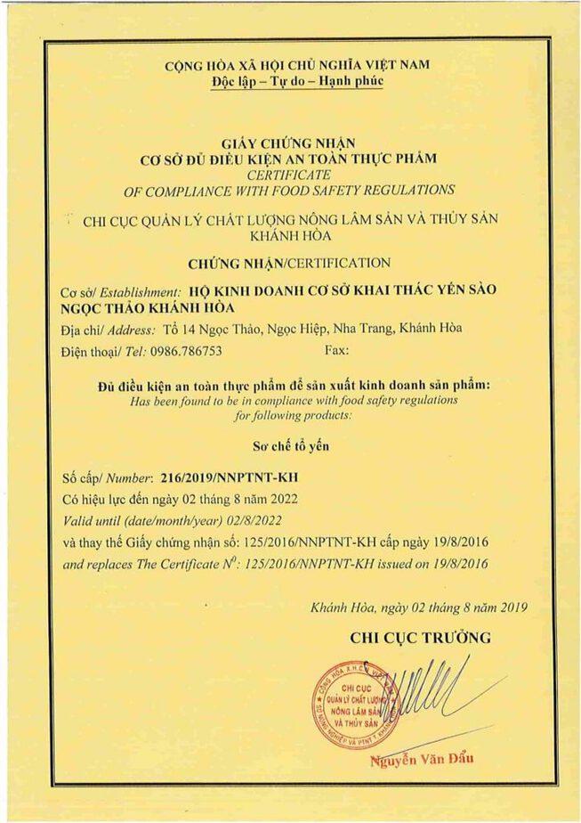chứng nhận an toàn thực phẩm cở sở yến sào Ngọc Thảo