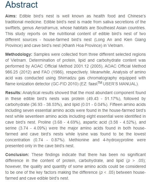 bài báo chứng minh chất dinh dưỡng có trong tổ yến sào